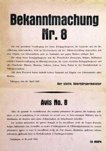 Plakat mit Bekanntmachung zur Verpflegung ehemaliger Kriegsgefangener, 26. April 1945, Bildrechte: Stadtarchiv Tübingen