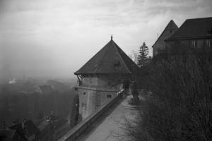 Le château de Hohentübingen, tour pentagonale, vers 1954, photographe : Alfred Göhner, droits : Archives municipales de Tübingen