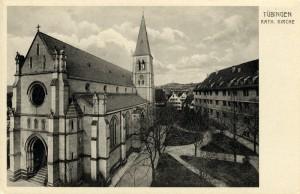 L'église St. Johannes, carte postale non datée, droits : Archives municipales de Tübingen