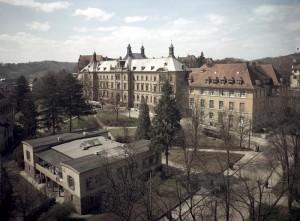 Frauenklinik, 1951, Foto: vermutlich Gebrüder Metz, Scan vom Farbnegativ, Bildrechte: Stadtarchiv Tübingen