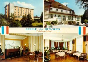 Le « Cercle des Officiers » de Tübingen : « Foyer » dans la Friedrichstraße, « Casino » dans la Wöhrdstraße avec son aménagement intérieur, carte postale d'époque en couleurs