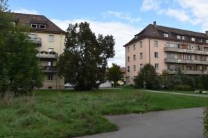 Ehemalige französische Wohnblöcke in der Huberstraße